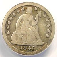 1846 SEATED LIBERTY DIME 10C - CERTIFIED ANACS F12 DETAILS -  KEY DATE