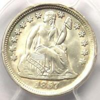 1857 SEATED LIBERTY DIME 10C - CERTIFIED PCGS MINT STATE 63 BU UNC -  DATE COIN