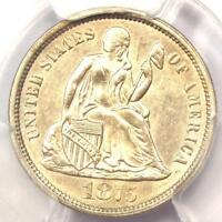 1875-CC SEATED LIBERTY DIME 10C MM ABOVE BOW - PCGS UNCIRCULATED DETAIL UNC MS