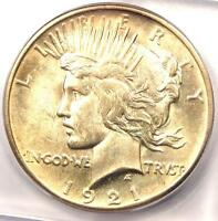 1921 PEACE SILVER DOLLAR $1 - CERTIFIED ICG MINT STATE 64 -  BU UNC COIN - $900 VALUE