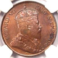 1905-H CHINA EDWARD VII HONG KONG CENT - NGC MINT STATE 63 -  UNCIRCULATED BU COIN