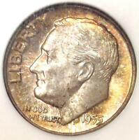 1955 ROOSEVELT DIME 10C - CERTIFIED NGC MINT STATE 67 FT -  IN MINT STATE 67 FB - $1,900 VALUE