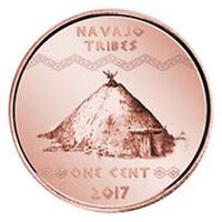 NAVAJO INDIAN TRIBE 1 CENT 2017 UNC USA UNUSUAL COINAGE