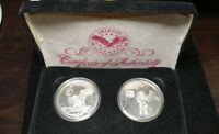 SET OF 2 AMERICAN SILVER BULLION 1 OZ SILVER ROUNDS APOLLO 11 & MAN ON THE MOON