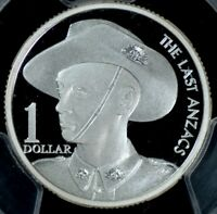 1999 ANZAC SILVER PROOF $1 COIN PCGS PR69DCAM.
