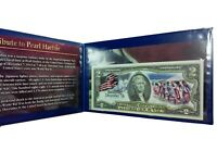 REMEMBER DECEMBER 7TH COLORIZED U.S. $2 BILL IN DISPLAY FOLDER LEGAL TENDER