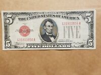 1928 C $5 UNITED STATES NOTE RED SEAL FIVE DOLLAR BILL FR. 1528 FINE VF