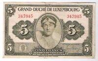1944 LUXEMBOURG 5 FRANCS NOTE BANKNOTE BILL WORLD WAR TWO WWII EXTRA FINE P. 43A