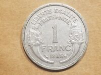1945 FREE FRANCE 1 FRANC FRENCH WORLD WAR TWO ALLIED RELIC COIN NICE