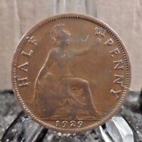 CIRCULATED 1929 1/2 PENNY UK COIN  3217  1 ..