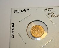 1945 DOS PESOS GOLD COIN::GEM BU:: MEXICO::MS PLUS::2 PESOS