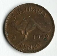 DATED : 1942   AUSTRALIA   ONE PENNY   COIN   KING GEORGE VI