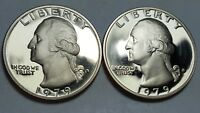 1979 S PROOF WASHINGTON QUARTER TYPE 2 CLEAR 'S' & TYPE 1 FILLED 'S' DEEP CAMEO
