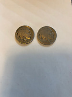 5C 1921 PHILADELPHIA MINTED   BUFFALO NICKEL AND ONE WITH NO DATE