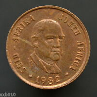 SOUTH AFRICA COIN 1 CENT 1982 KM109 4TH PRESIDENT B. J.