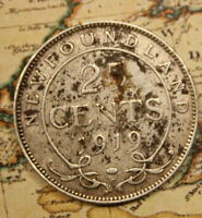 1919 NEWFOUNDLAND CANADA SILVER 25 CENTS    LOT NF1059