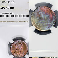 1940-D MINT STATE 65 RB RED BROWN LINCOLN WHEAT CENT 1C PENNY, NGC GRADED, GORGEOUS TONED