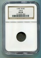 1795 FLOWING HAIR HALF DIME NGC AU 58 LM-8 R-3 ORIGINAL COIN FROM BOBS COINS