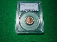 1913-S LINCOLN CENT PENNY UNC PCGS MINT STATE 64 RB