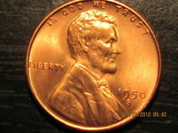 1950 S LINCOLN WHEAT CENT   SOLID BU COIN
