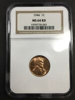 1944 LINCOLN WHEAT CENT - NGC MINT STATE 64 RD