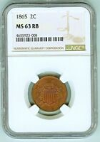 NGC MINT STATE 63 RB 1865 2 CENTS