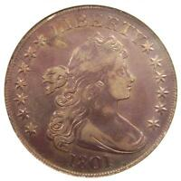 1801 DRAPED BUST SILVER DOLLAR $1 COIN B-2 - CERTIFIED ANACS VF35 - $3,500 VALUE