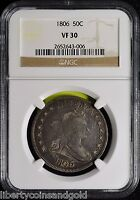 1806 U.S.DRAPED BUST HALF DOLLAR NGC VF 30 POINTED 6 STEM KM 35