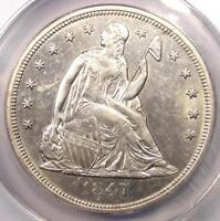 1847 SEATED LIBERTY SILVER DOLLAR $1 - ANACS AU55 DETAILS -  EARLY DATE COIN