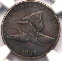 1857 FLYING EAGLE CENT 1C - NGC EXTRA FINE  DETAILS EF -  EARLY CERTIFIED PENNY