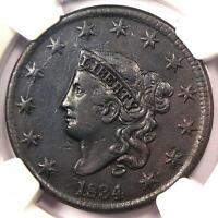 1834 CORONET MATRON LARGE CENT 1C - NGC EXTRA FINE  DETAILS -  CERTIFIED PENNY