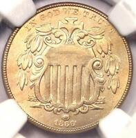 1866 RAYS SHIELD NICKEL 5C - NGC UNCIRCULATED DETAILS UNC MS -  RAYS VARIETY