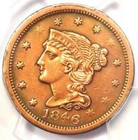 1846 BRAIDED HAIR LARGE CENT 1C - CERTIFIED PCGS AU DETAILS -  EARLY PENNY