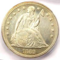 1869 SEATED LIBERTY SILVER DOLLAR $1 - CERTIFIED ICG MINT STATE 60 DETAILS -  IN UNC