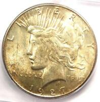 1927-S PEACE SILVER DOLLAR $1 - CERTIFIED ICG MINT STATE 62 BU UNC -  DATE COIN