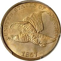 1857 1C SNOW-4 FLYING EAGLE CENT PCGS MINT STATE 65 CAC/PHOTO SEAL
