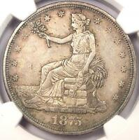 1875-CC TRADE SILVER DOLLAR T$1 - NGC AU DETAILS -  CARSON CITY COIN