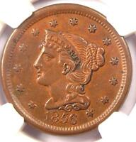 1856 BRAIDED HAIR LARGE CENT 1C - CERTIFIED NGC AU DETAILS -  EARLY PENNY