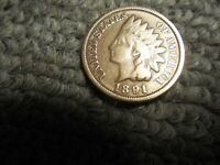 1891 INDIAN HEAD PENNY/CENT, IN ABOUT VG CONDITION. BUT YOU DECIDE
