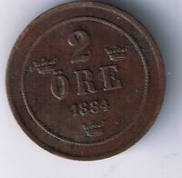1884 SWEDEN 2 ORE COIN SWEDISH CLOSED 4 VARIETY NICE