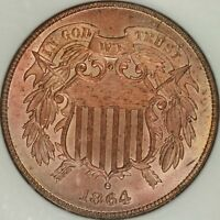 1864 LARGE MOTTO TWO CENT NGC MINT STATE 65RD