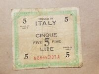 1943 ITALY 5 LIRE FIVE LIRA ITALIAN ALLIED MILITARY CURRENCY NOTE WWII WAR RELIC