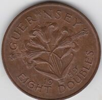 GUERNSEY EIGHT DOUBLES 1959 EXTRA FINE. LUSTROUS.