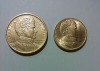 CHILE 2 DIFFERENT COINS SET 1 PESO   10 PESOS LOT