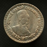 INDIA 5 RUPEES  DADABHAI NAOROJI  2003. KM308  UNC. COMMEMORATIVE COIN.