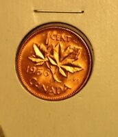 CANADA CENT ::1956 MS  RED  ::VINTAGE ORIGINAL LUSTROUS RED CANADA  COPPER