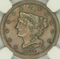 1854 BRAIDED HAIR HALF CENT NGC MINT STATE 65BN