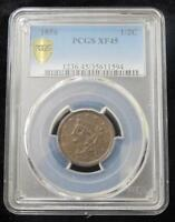 1856 HALF CENT  BRAIDED HAIR  PCGS GRADED EXTRA FINE  45  BEAUTIFUL COIN