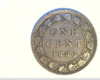1886 CANADA 1 PENNY HIGH GRADE CIRCULATED BRONZE  CAN 542