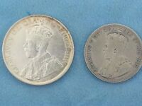 1936 CANADIAN DOLLAR AND HALF DOLLAR SILVER COIN LOW MINTAGE